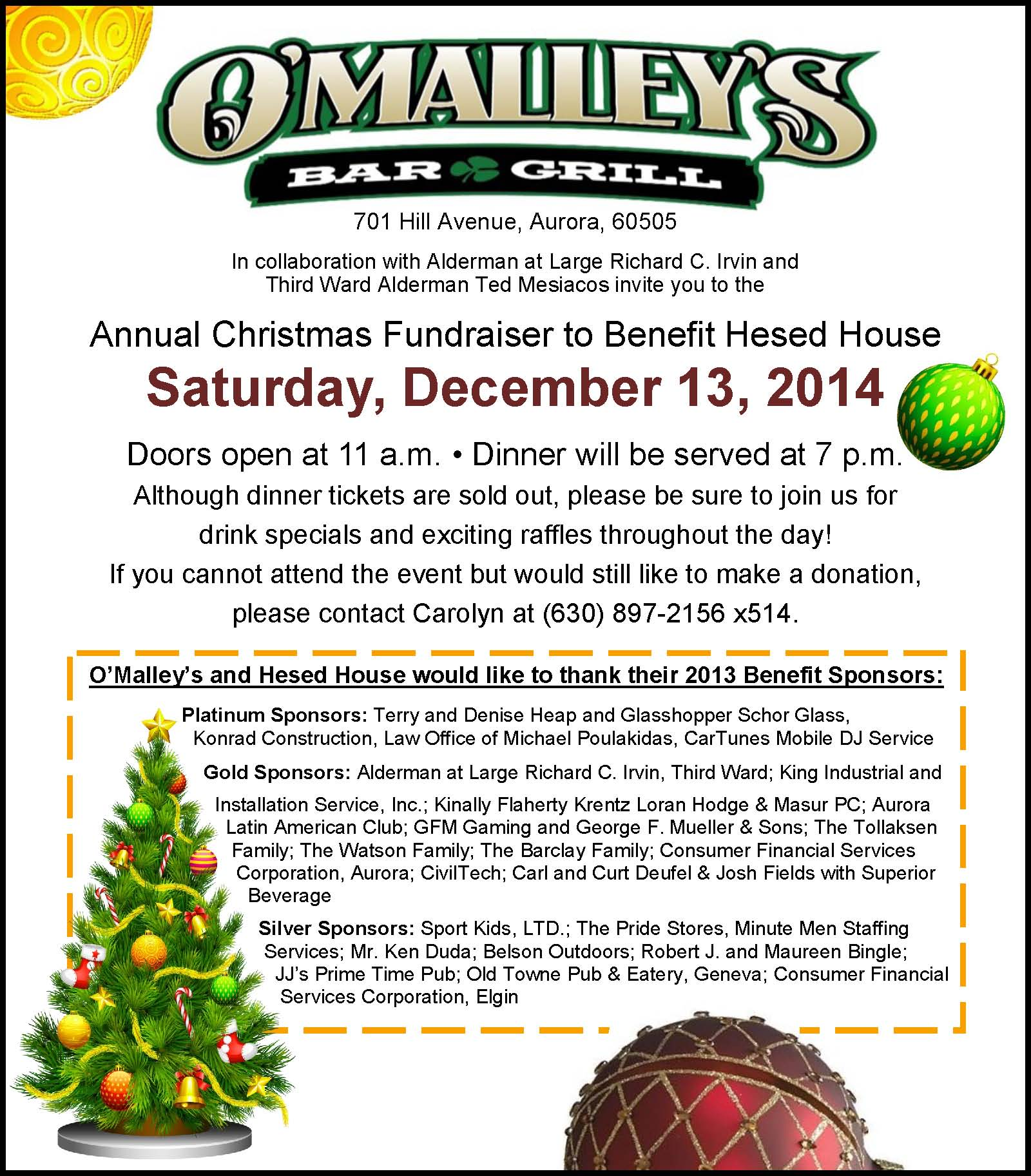 Christmas Fundraiser.O Malley S Annual Christmas Fundraiser To Benefit Hesed